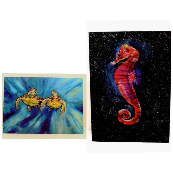 Two x 2 Sea Horse & Sea Turtle Greeting Cards