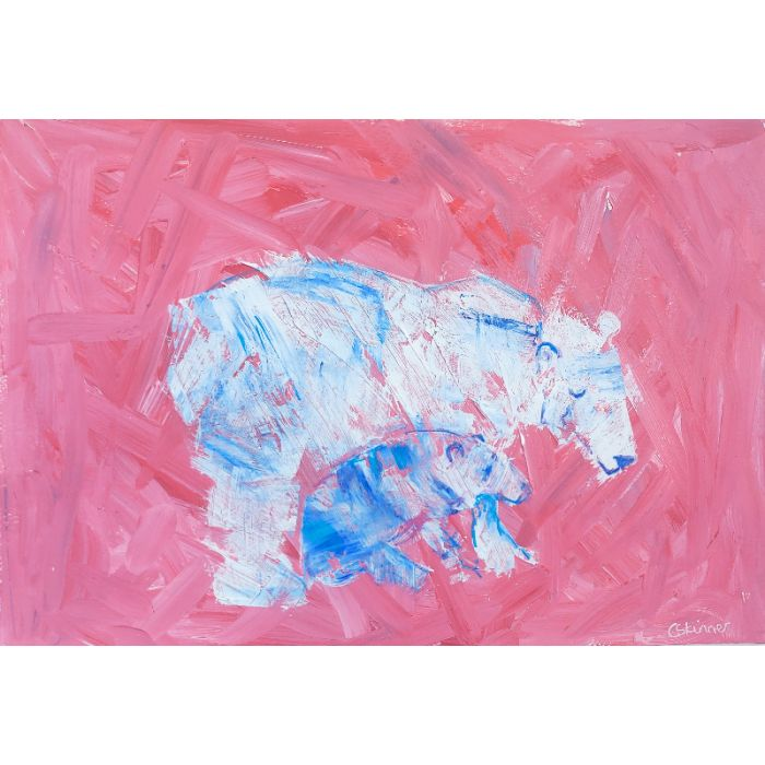 Blue and white polar bear painting againt a red background - it's getting warm. Supplied unframed.
