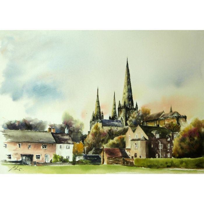 Lichfield Cathedral. Original watercolour painting.