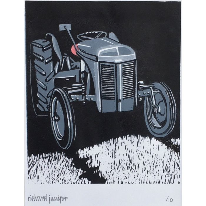 Little Grey Fergie I. Limited Edition Reduction Linocut Print