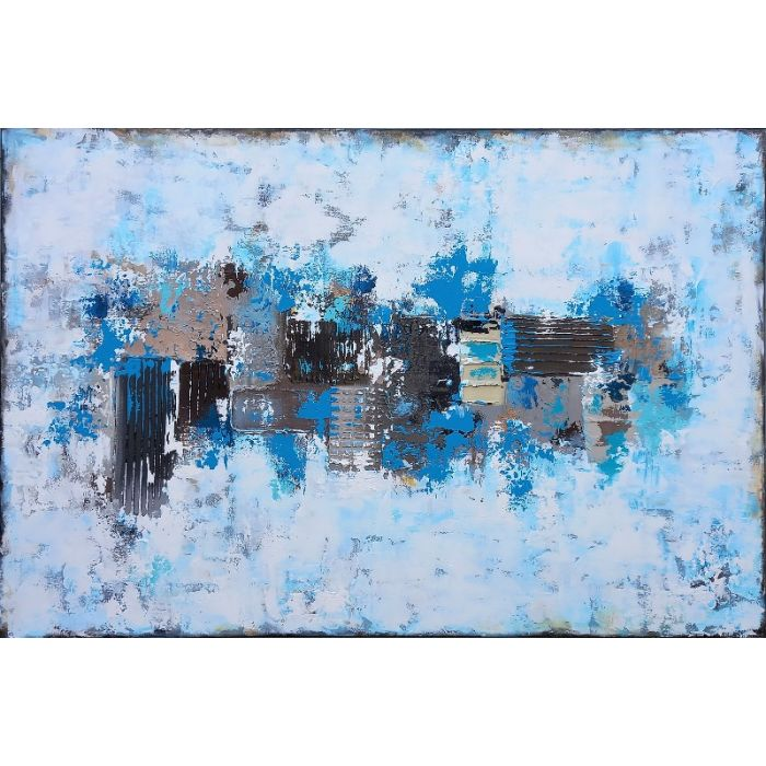 XXXL Abstract By the Quayside 120 X 80cm Textured Abstract Painting