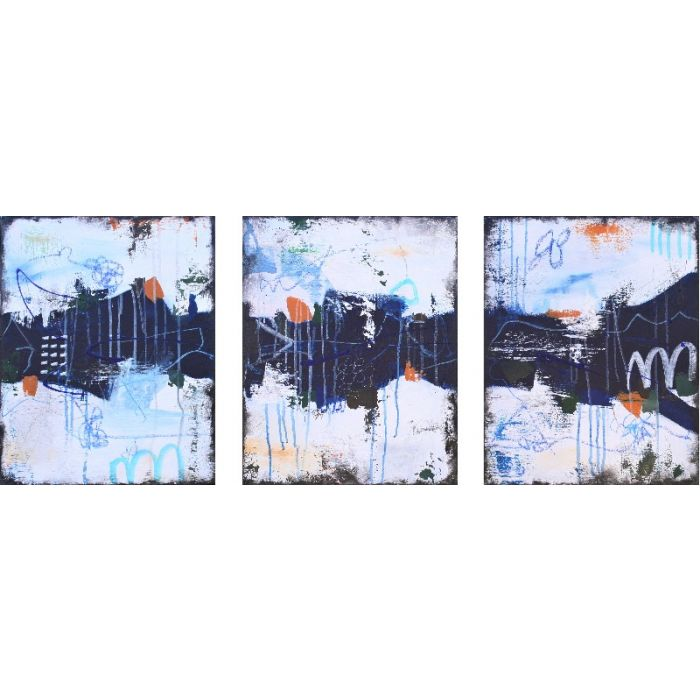 XXL Secret Whispers II Triptych 120 x 50 cm Three Abstract Paintings