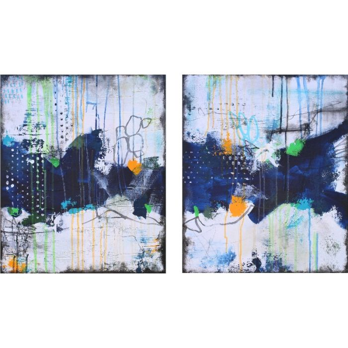 XXL Secret Whispers Diptych III 100 x 60 cm Two Abstract Paintings