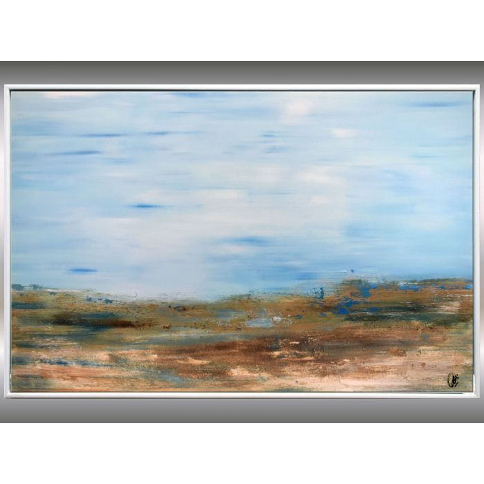 Memories -  Abstract acrylic painting, landscape in frame, original