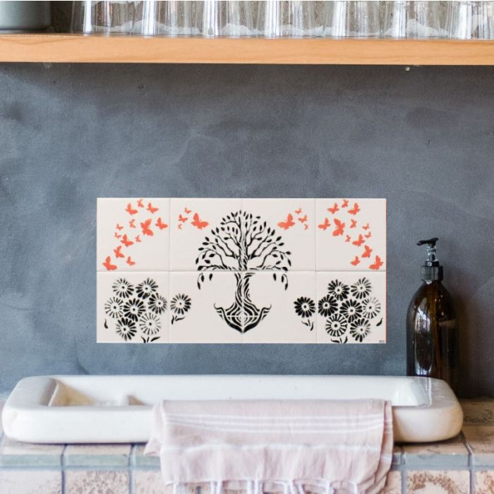 Tile Mural Handmade Tree of Life with Butterflies