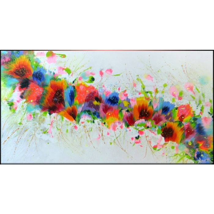 """""""Rainbow Florals"""" Large Painting"""
