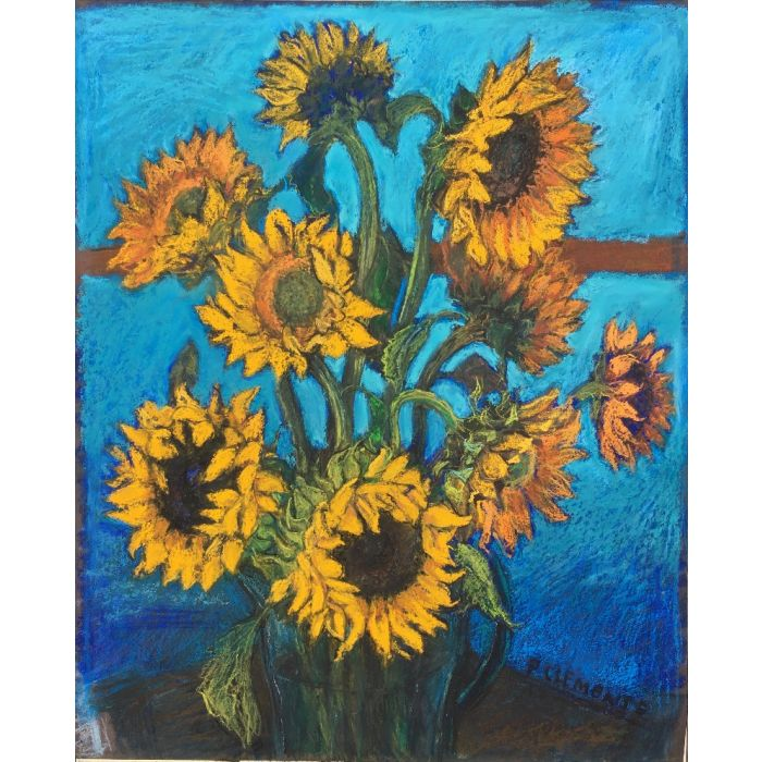SUNFLOWERS WITH KINGFISHER BLUE INFLUENCED BY VAN GOGH