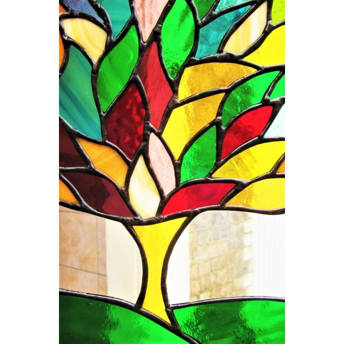 Tree Of Life Stained Glass Art Contemporary Handmade Window Hanging Panel #2