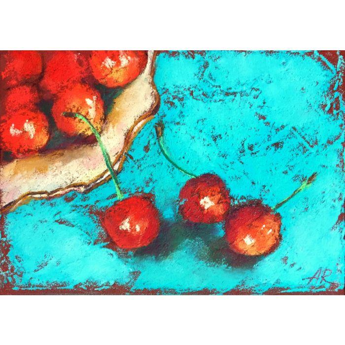 Sweet Cherries Pastel Drawing.