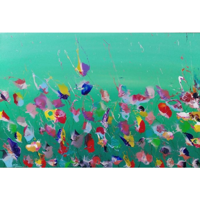 'Wild Flower Meadow' - Large Original Expressionist Painting of Flowers in Nature