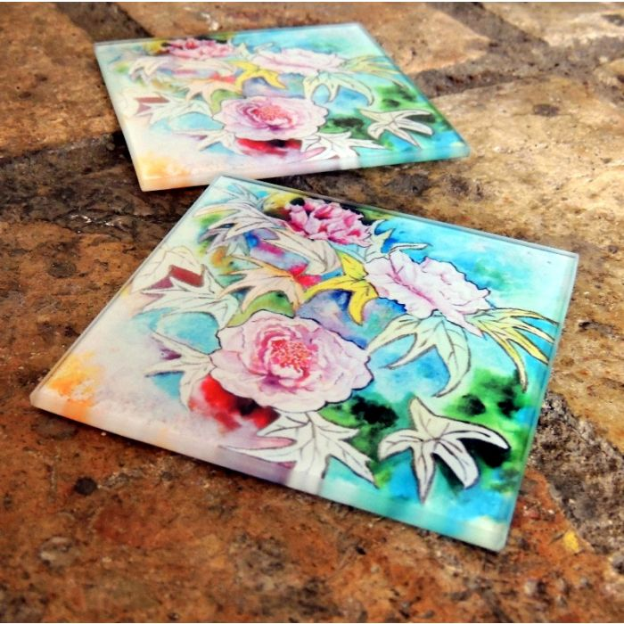 Glass Drinks Coasters | Original Artwork Drink Mats | Peony Flowers Glass Home and Kitchen Ware