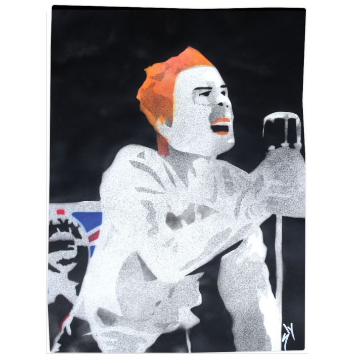 """Popiconic moments 4: """"God save the Queen."""" (On gorgeous watercolour paper)."""