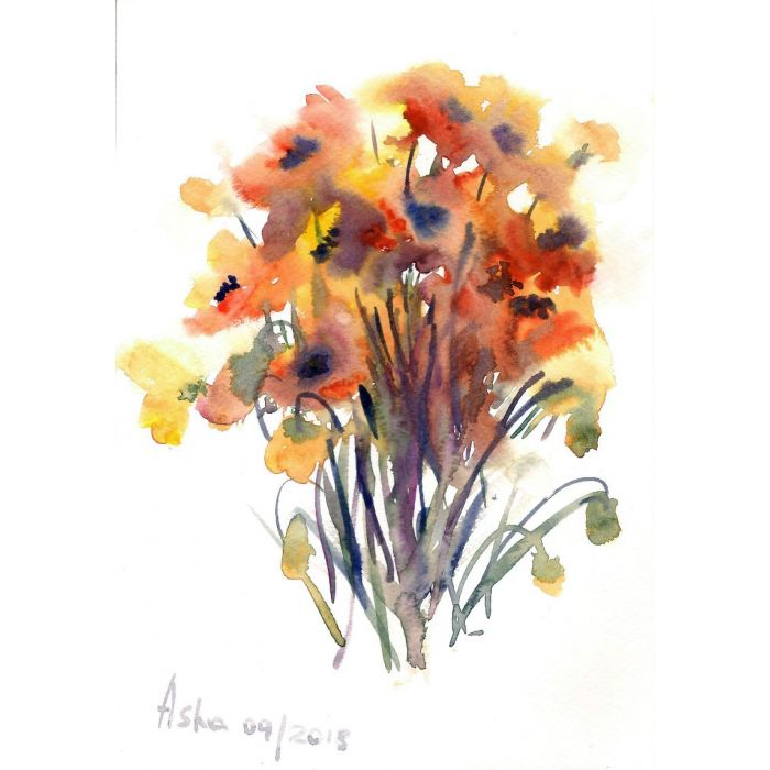 Spring Poppies Watercolours on paper