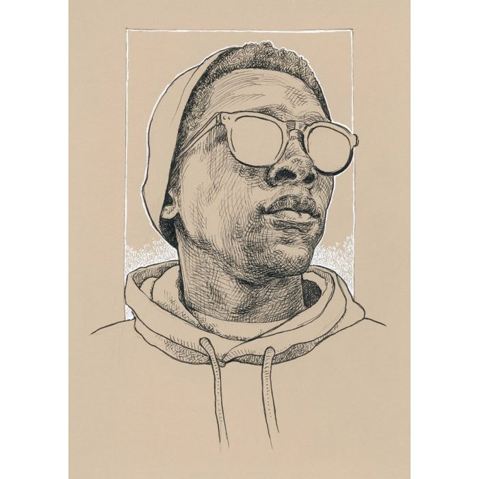 BLACK MAN with glasses - INK drawing