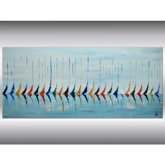 Regatta II - Acrylic painting, sailboat painting, abstract stretched canvas art