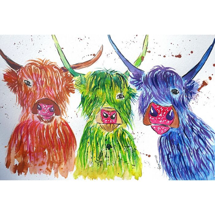 Three quirky colourful Cows 2