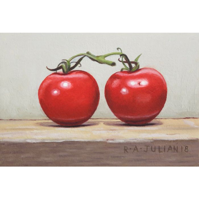 Still life, Two Tomatoes, framed.