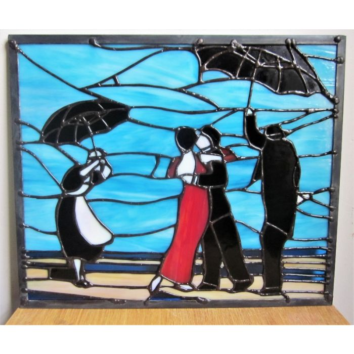 'The Singing Butler' Stained Glass Art Tiffany Handmade Panel After Vettriano 2021 Limited Edition