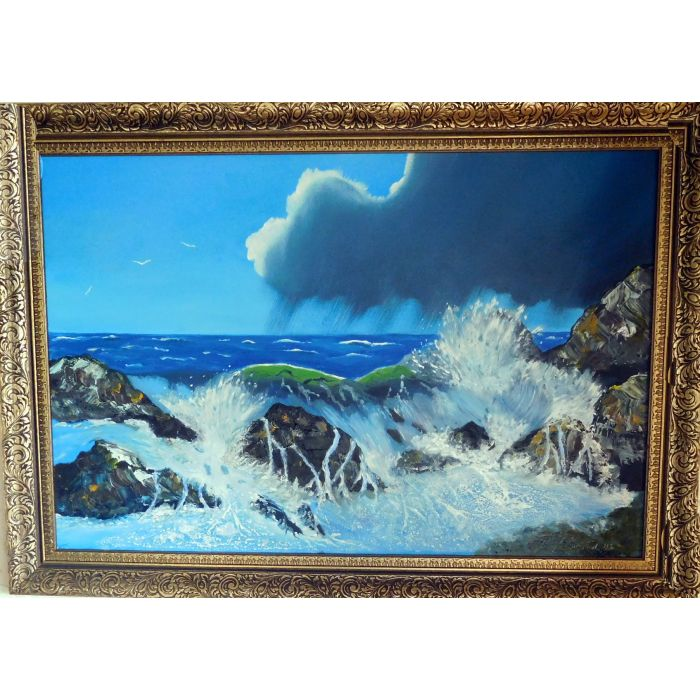 The rough sea crashing on the rocks (WITH A BEAUTIFUL GOLD AND BLACK FRAME)