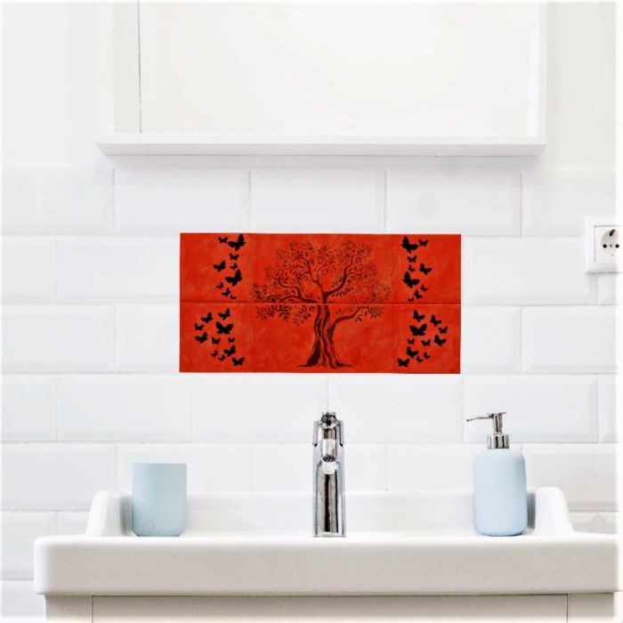 Handmade Hand Painted Ceramic Tile Backsplash Tree of Life with Butterflies