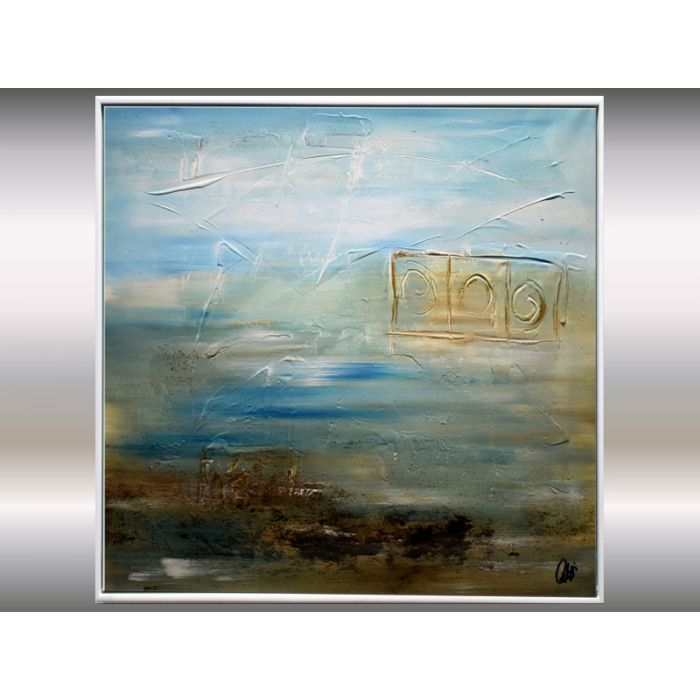 Sunken Land - framed acrylic painting on canvas, abstract landscape, original