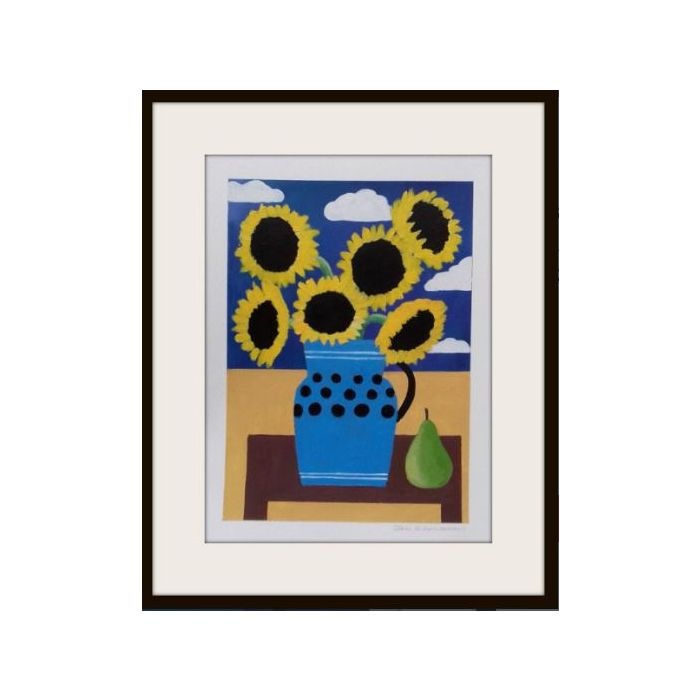 Sunflowers in a Blue Vase