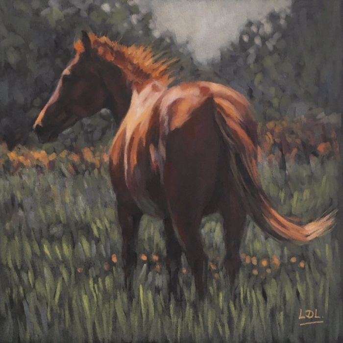 Chestnut horse in sunny meadow pastel painting