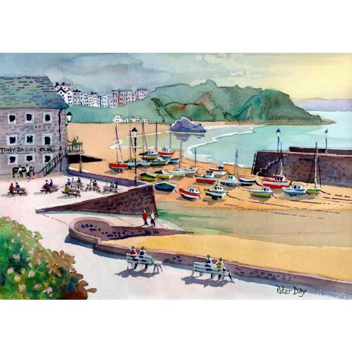 Tenby, Pembrokeshire, Wales, Harbour, jetty. Sailing Club, Boats, beach & sea.