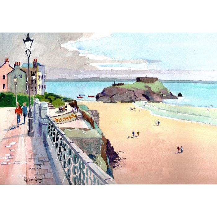 Tenby, Pembrokeshire, Wales, Iron bar Sands & St Catherines Island. Boats, beach & sea.