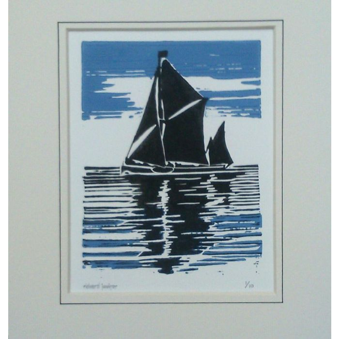 Thames Sailing Barge. Original Limited Edition Linocut Print