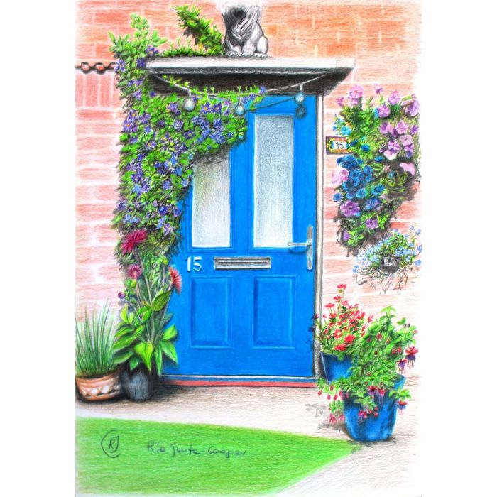 Blue Door with Purple Flowers of Clematis and Abundance of Summer Blossoms in Garlands and Pots