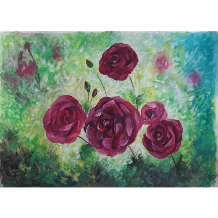 Pink Roses| Gouache Painting on A4 160gsm Paper (Unframed)