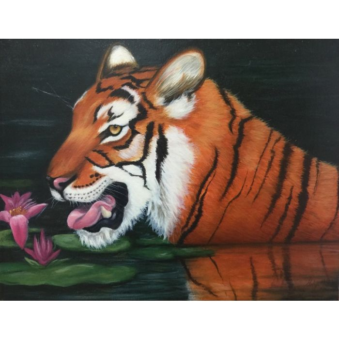 Tiger in Lily Pond