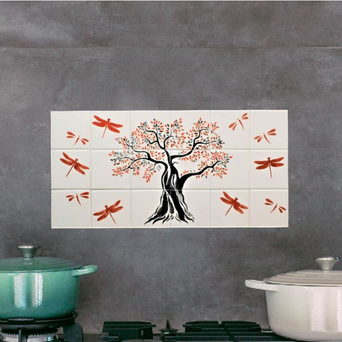 Tile Mural Hand Painted Tree of Life with Dragonflies