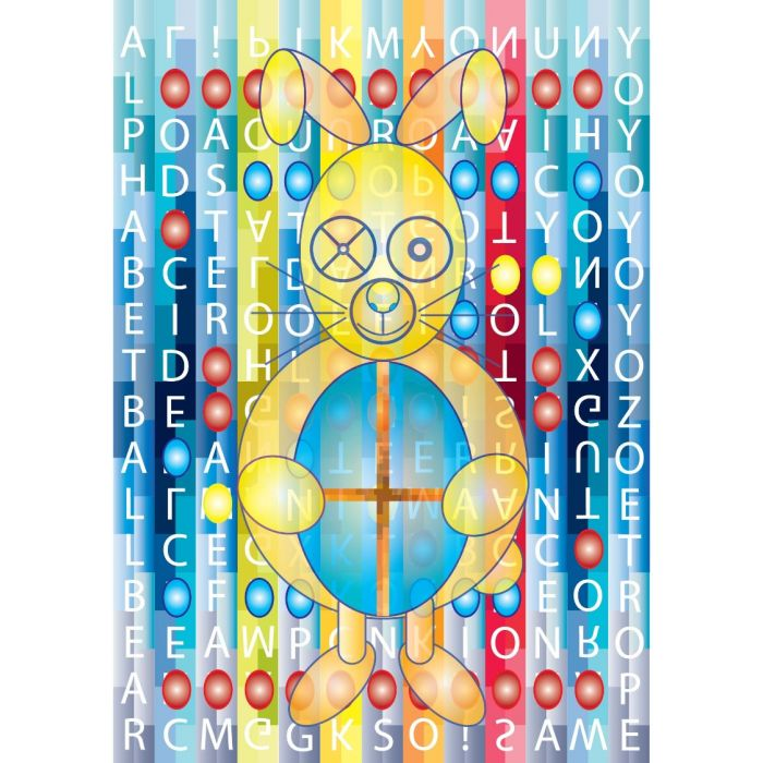 Game of Toys - Happy Easter Rabbit with A to Z Toys and Binary Code- A4 Print