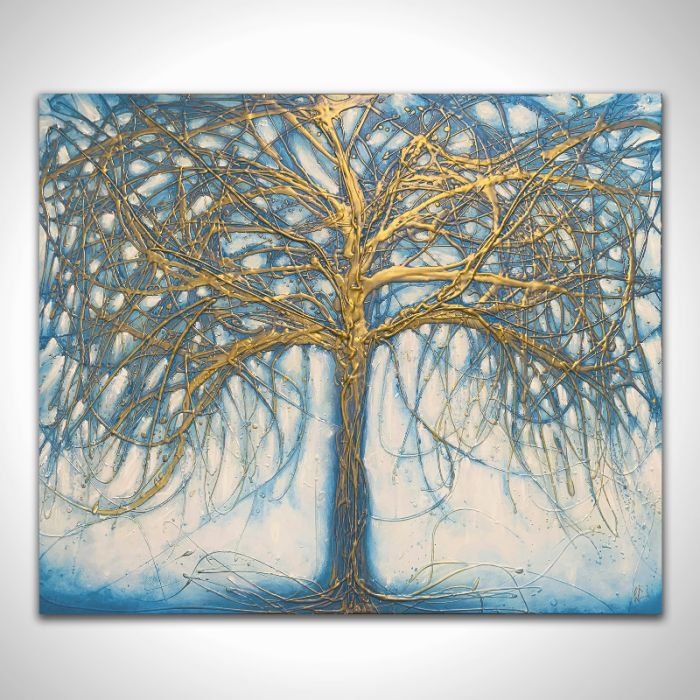 XL Tree of Gold and Teal 100cm x 120cm