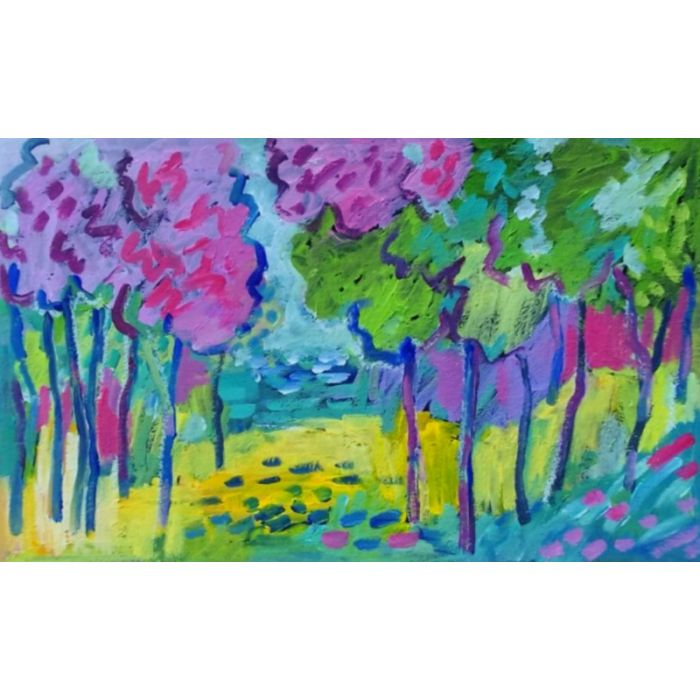 Summer Landscape with Blossom Trees II