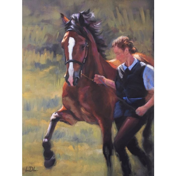 Bay Welsh Cob Stallion in pastels