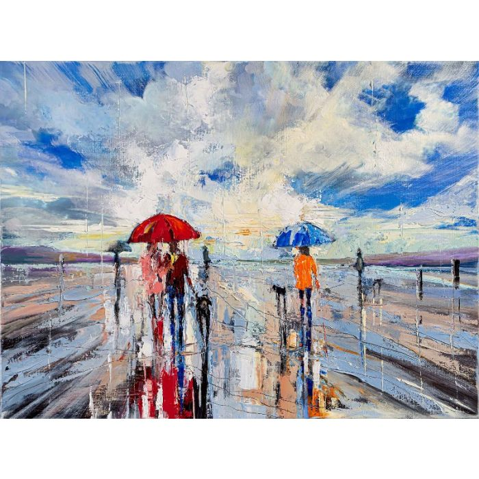 'Afternoon Beach Walk' Giclee Canvas Print
