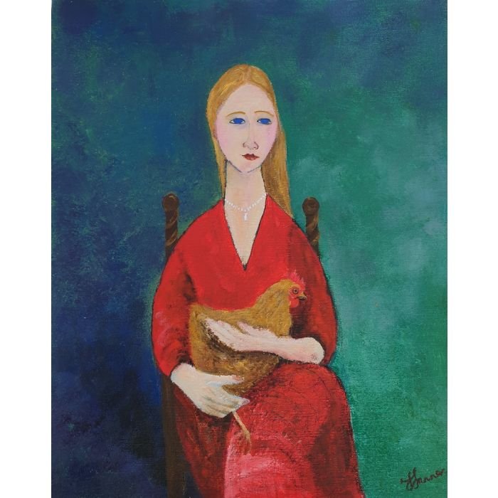 Girl red dress  with chicken