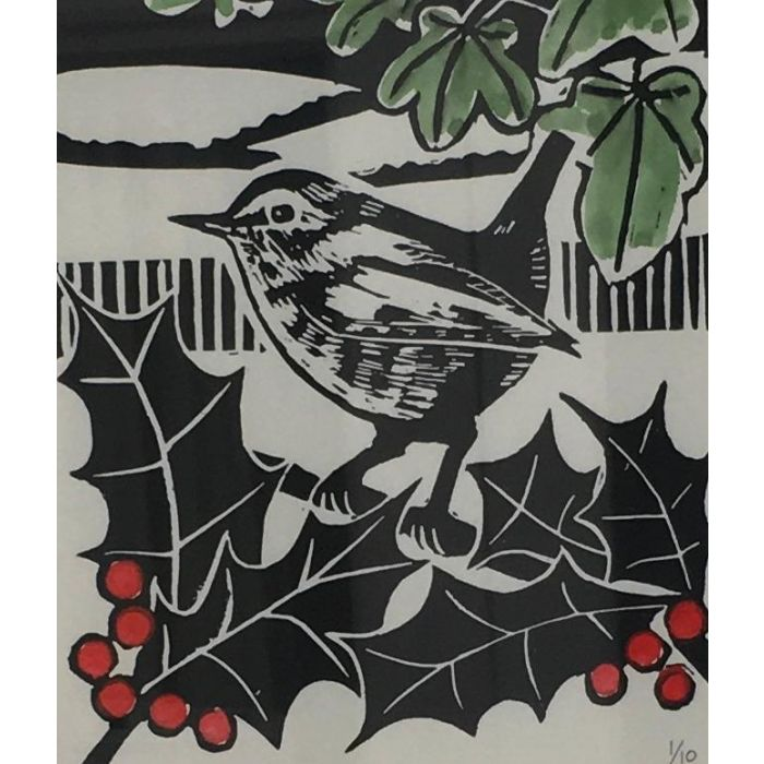 Winter Wren. Original Limited Edition Linocut Print