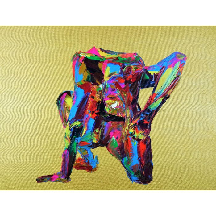 Yoga Pose Nude Woman King Pigeon 865 Acrylic on Stretched 3D Gallery Canvas