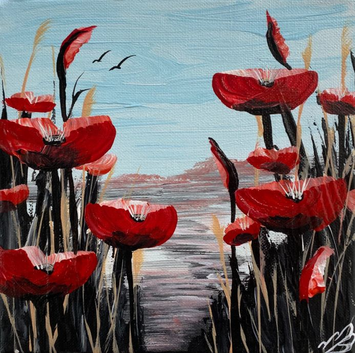 Red poppies against a Blue Sky