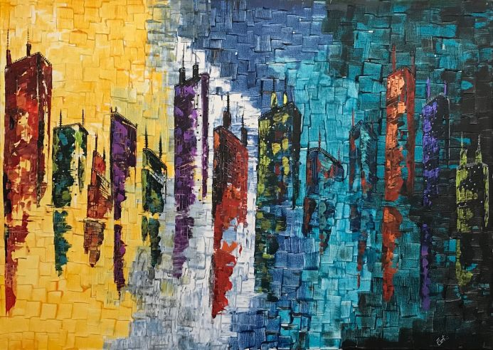 Night City Abstract Painting 901