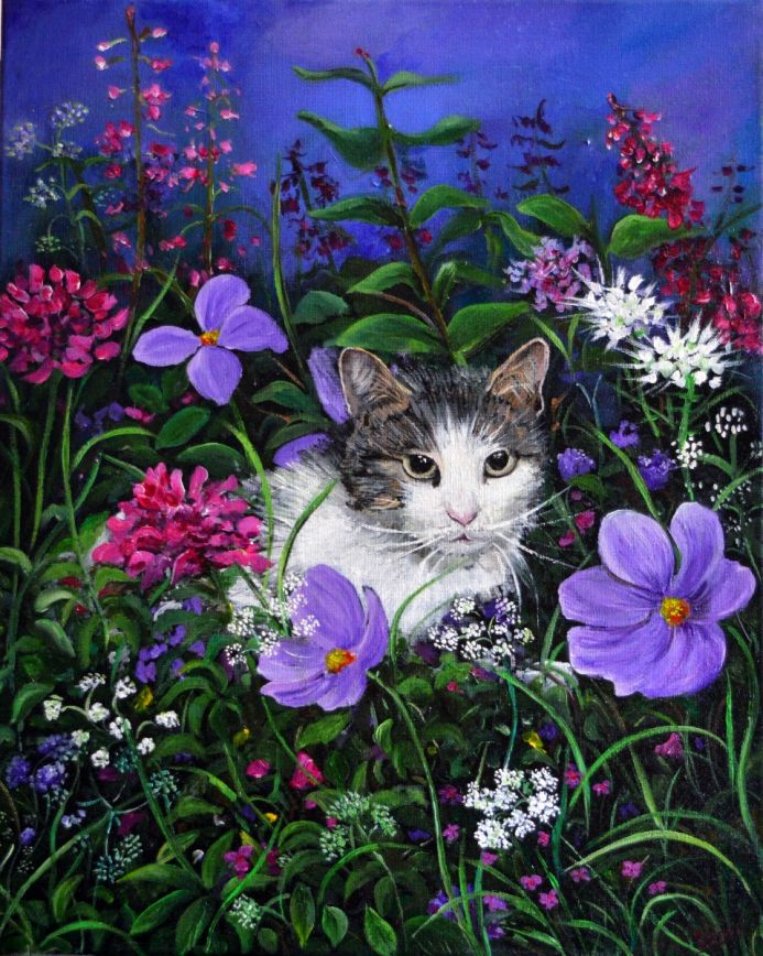 Cat Hiding in the Flowers