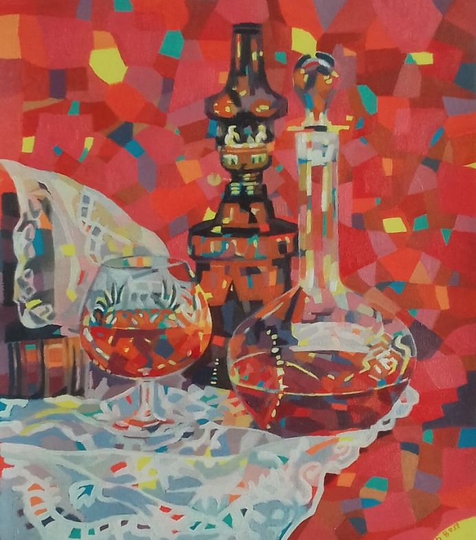 Still life with decantor and glass