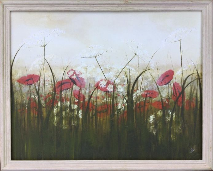 Poppies and Cow Parsley Framed