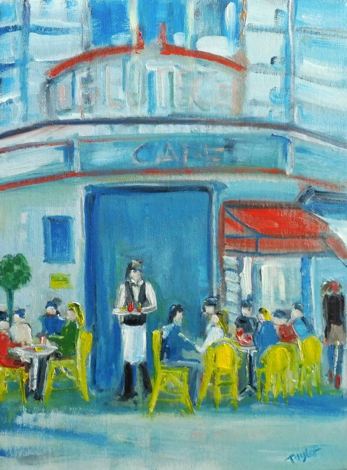 PARIS, LE LUTECE CAFE. Original Impressionistic Figurative Oil Painting. Varnished.