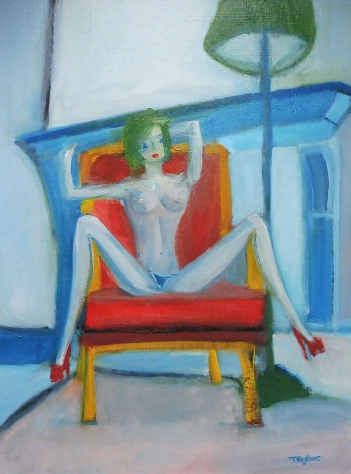 NUDE EROTIC PRETTY FEMALE, SKINNY BLUE EYED, RED STILETTOS. Original Impressionistic Female Figurative Oil Painting. Varnished.