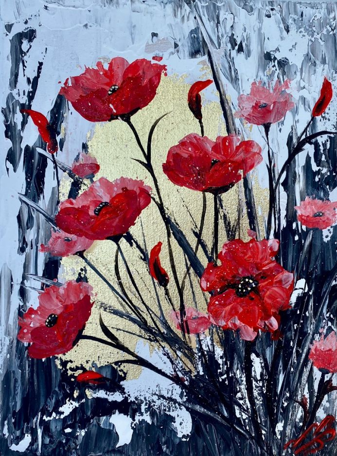 Abstract Textured Poppies on Gold Leaf